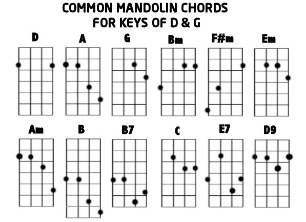 MANDOLIN CHORDS FOR D u0026 G KEYS : Mandolin GDAE TAB 200 tunes, so far.