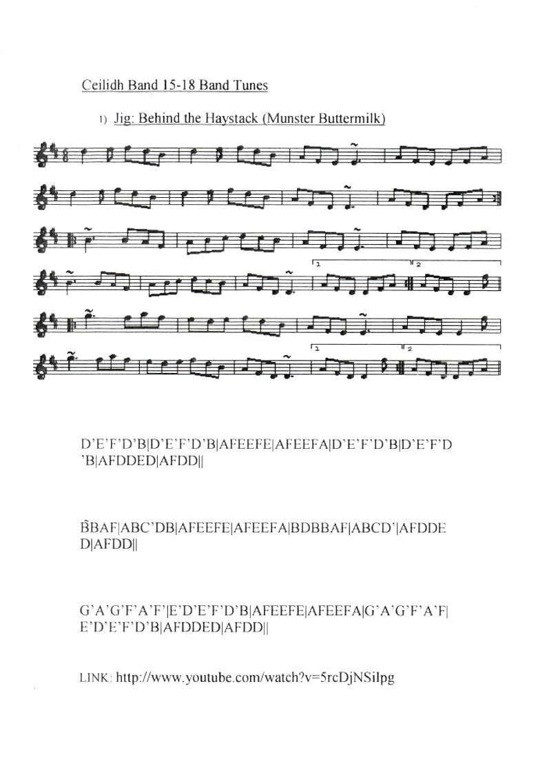 Behind The haystacks Jig : Mandolin GDAE TAB 196 tunes, so far.