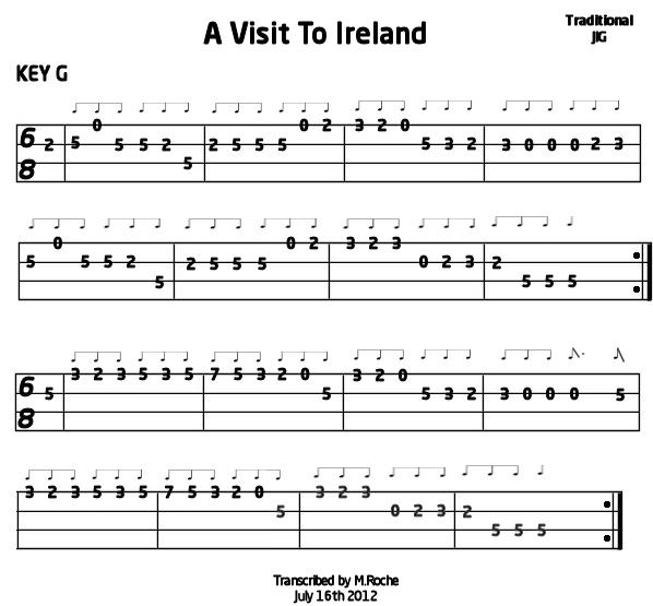A Visit To Ireland JIG (Key G) Mandolin : Mandolin GDAE TAB 196 tunes, so far.