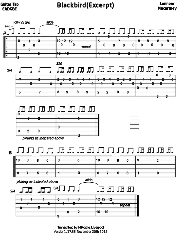 Blackbird (Excerpt) For Guitar : Mandolin GDAE TAB 200 tunes, so far.