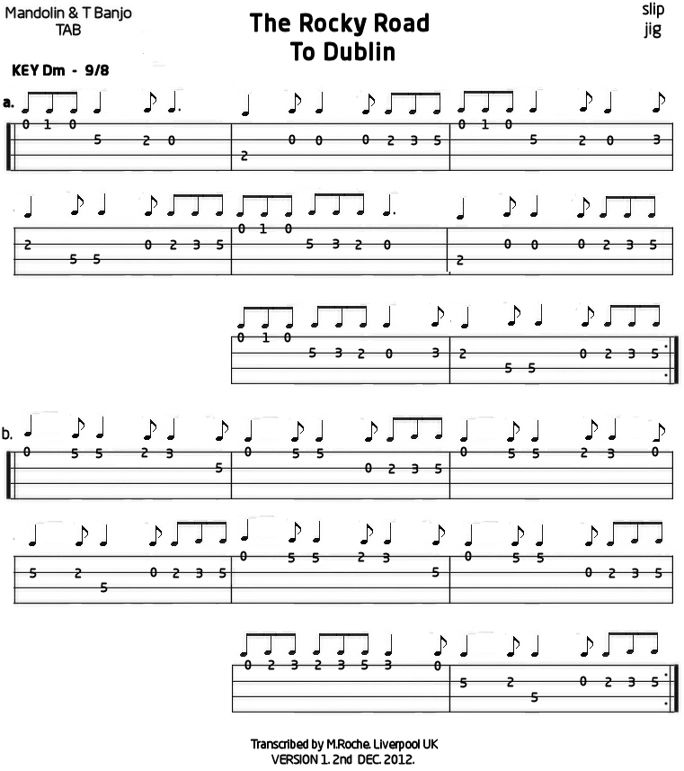Rocky Road to Dublin : Mandolin GDAE TAB 200 tunes, so far.