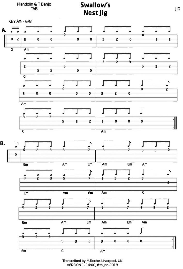 Swallowu2019s Nest Jig : Mandolin GDAE TAB 200 tunes, so far.
