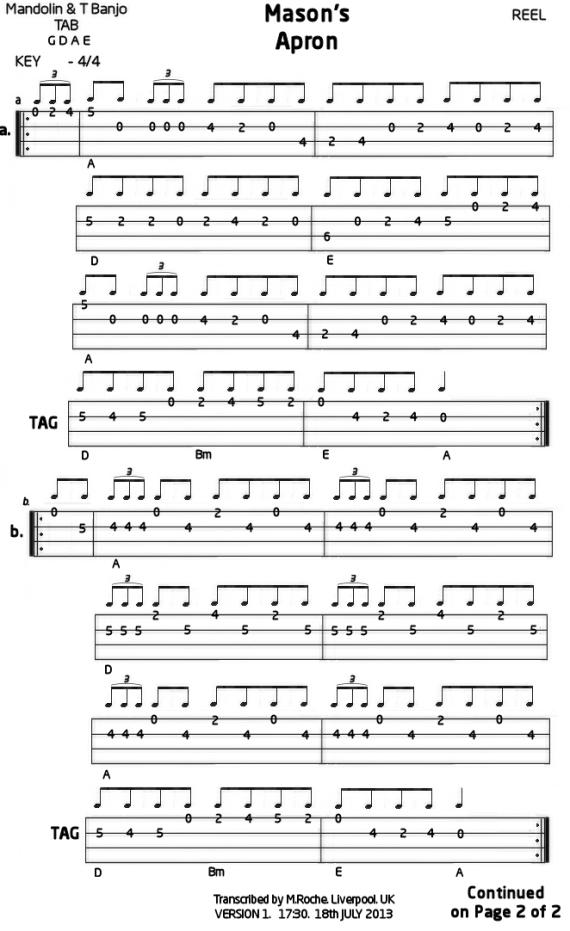 Masonu2019s Apron : Mandolin GDAE TAB 200 tunes, so far.