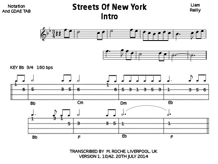 Streets of New York | Mandolin GDAE TAB 200 tunes, so far.